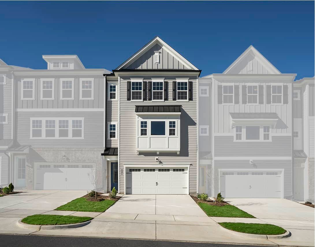 Exterior:Townes at North Salem  | Residence 2 Model Home- Front Elevation