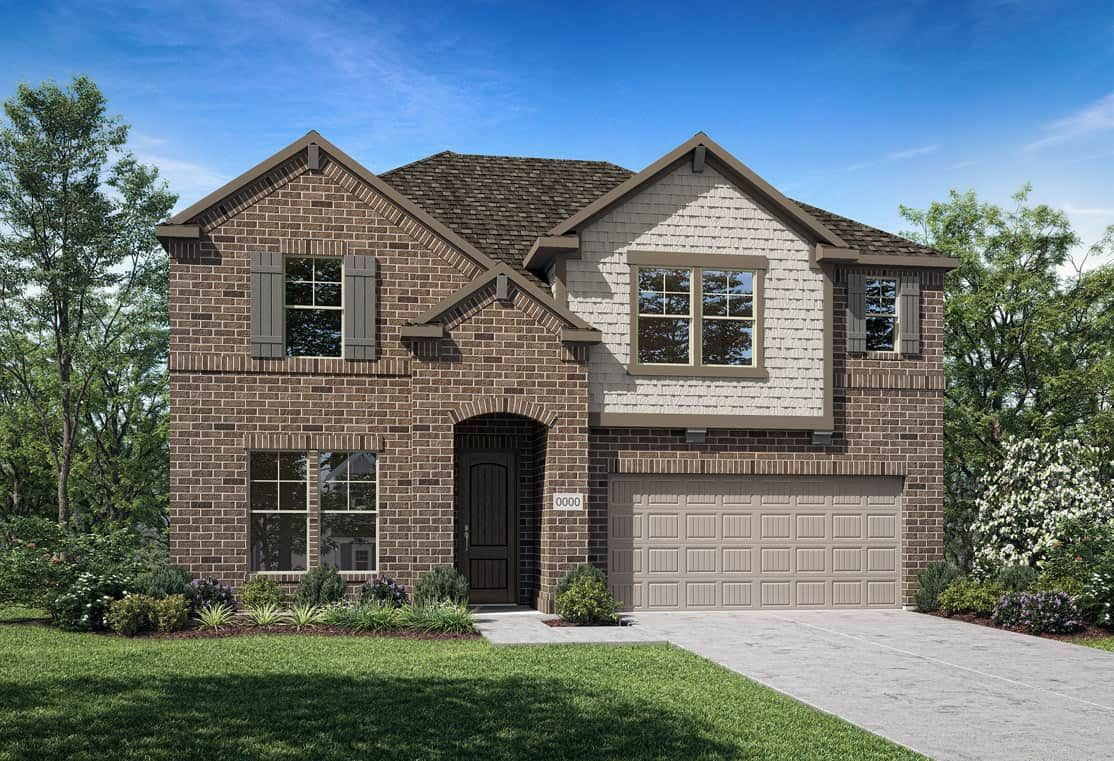 Elevation C:Elevation C is a two story brick home design with decorative shake details at second story window. M