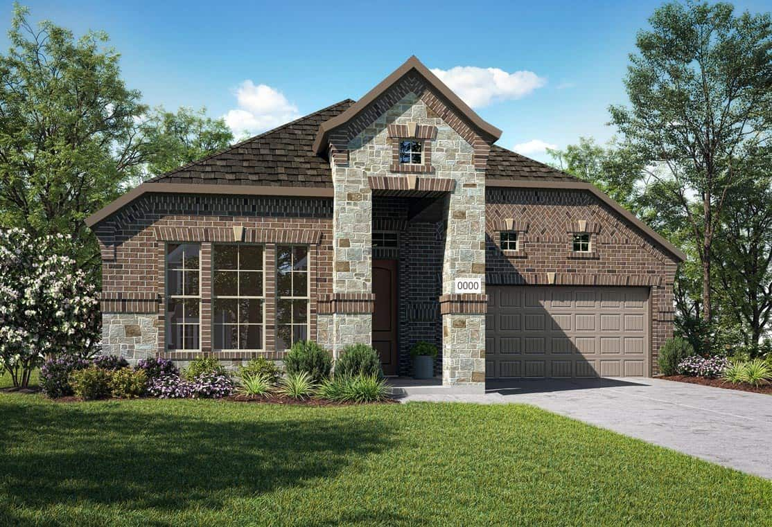 Elevation F:Elevation F is a single story cottage inspired home design with brick and stone and decorative windo