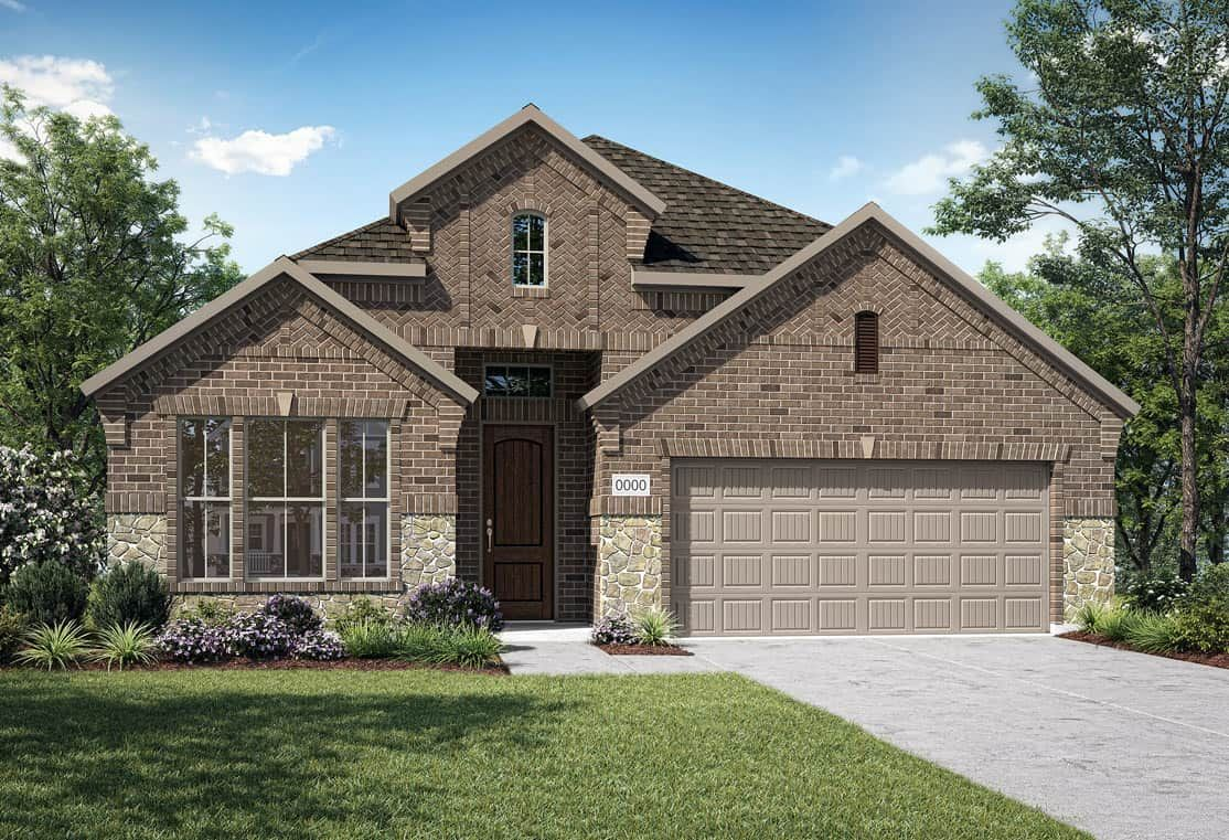 Elevation F:Elevation F is a brick and stone elevation with with herringbone brick feature at gables. Many desig