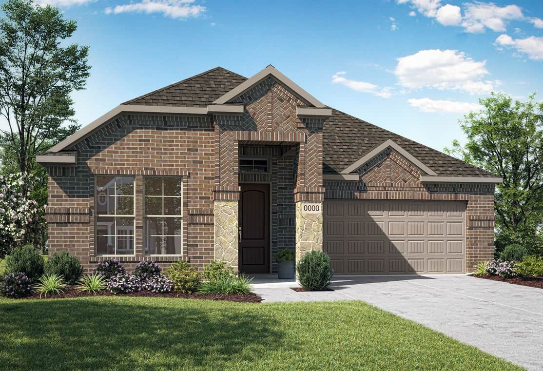 Elevation E:Elevation E is a single story with brick and stone home design with with herringbone brick pattern a