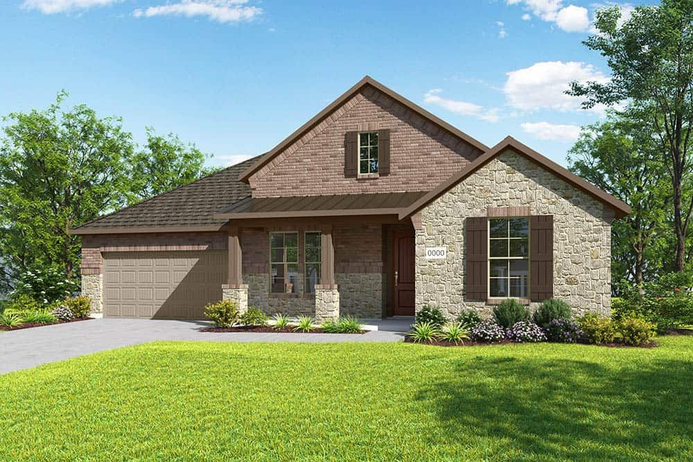 Elevation D:Elevation D is a single story farmhouse inspired brick and stone elevation with a metal roof detail