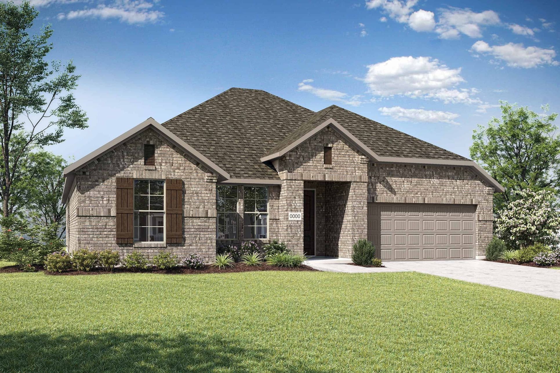 Elevation B:Elevation B is a single story full brick traditional home design with shutters on the front window.