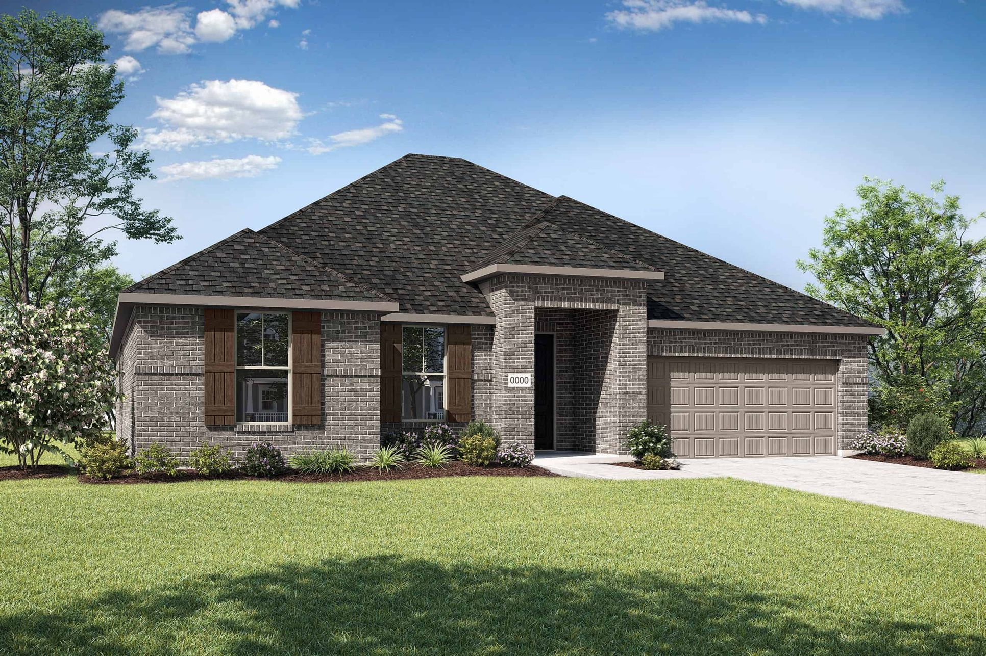 Elevation A:Elevation A is a single story full brick home design with clean lines and shutters on the front wind