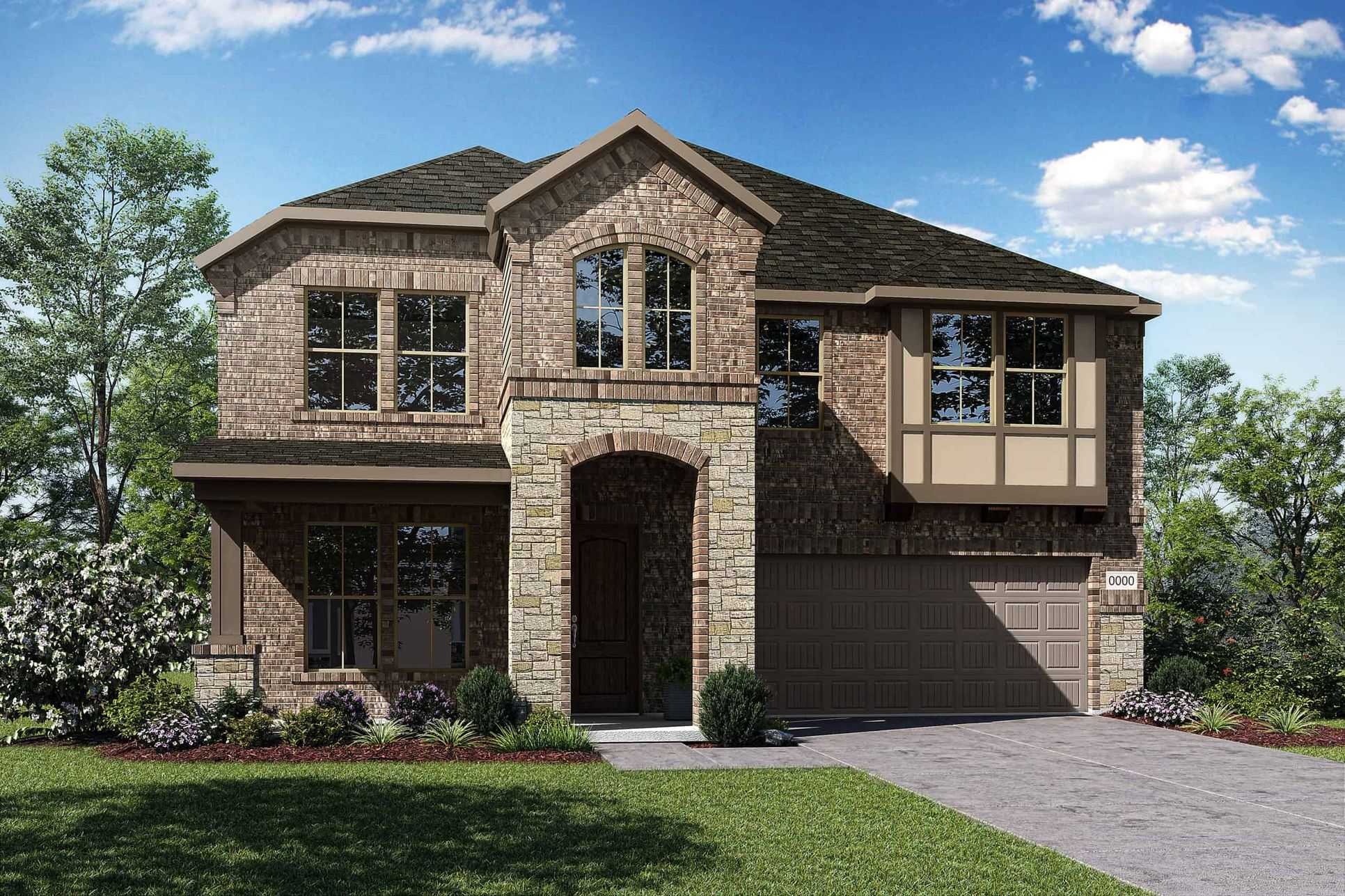 Elevation F:Elevation F is a two story tudor isnspired brick and stone home design featuring large front porch a