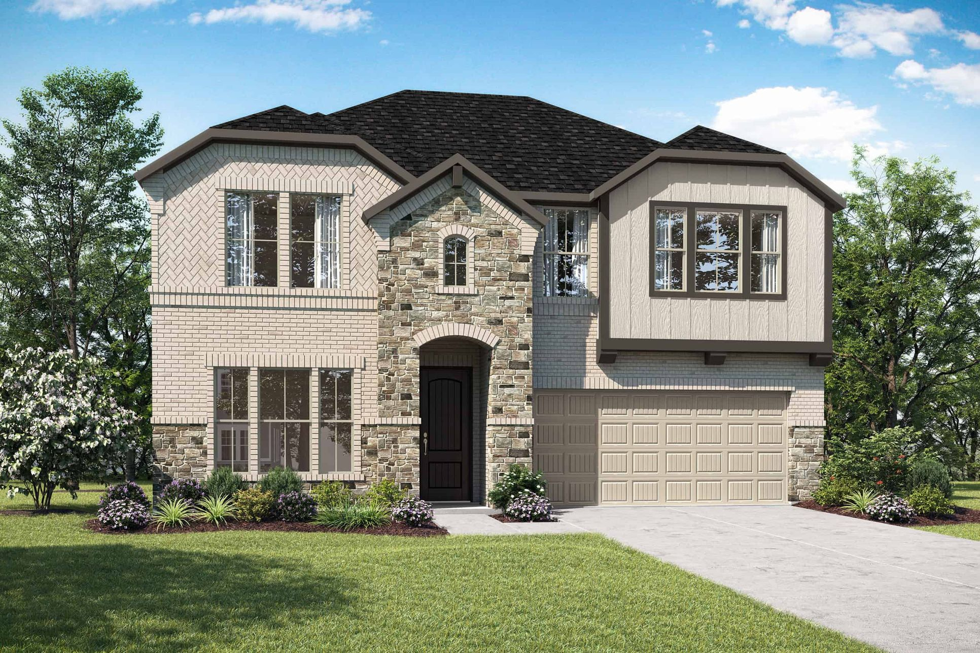 Elevation E:Elevation E is a two story cottage inspired home design with brick and stone featuring an arched ent