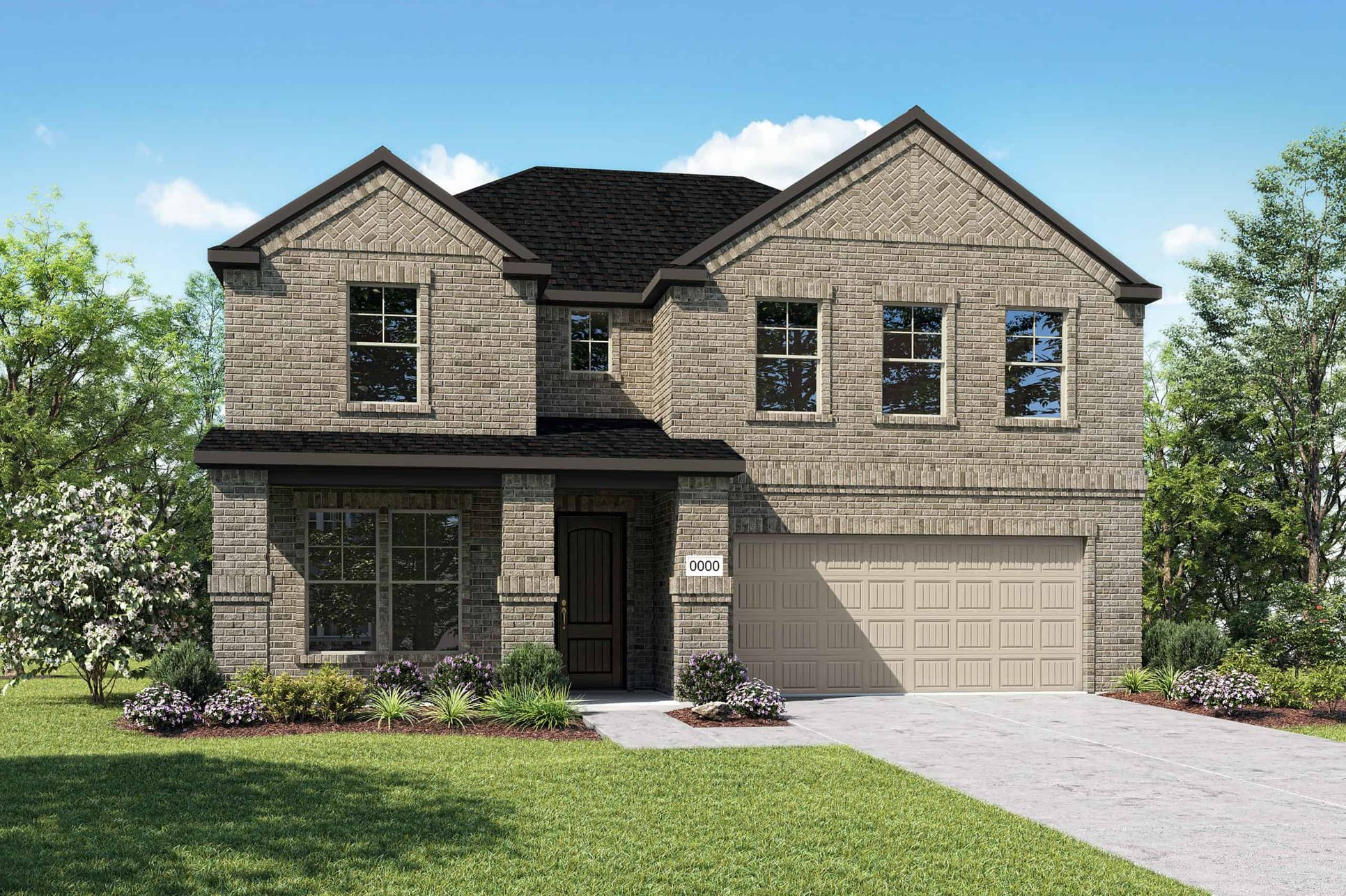 Elevation C:Elevation C is a two story full brick home design with a large front porch featuring brick wrapped c