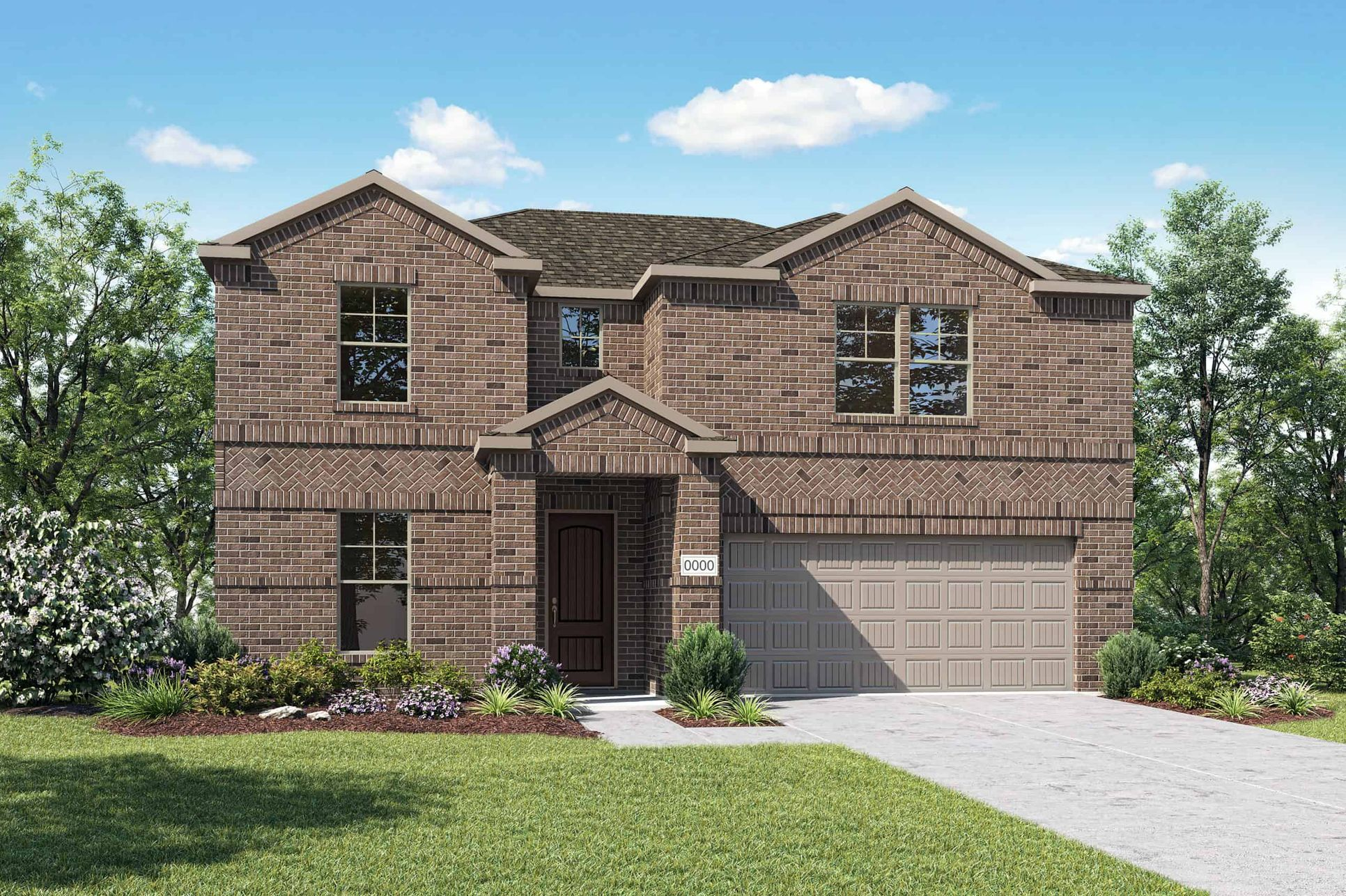 Elevation A:Elvation A is a two story traditional full brick home design with a herringbone brick detail. Many d