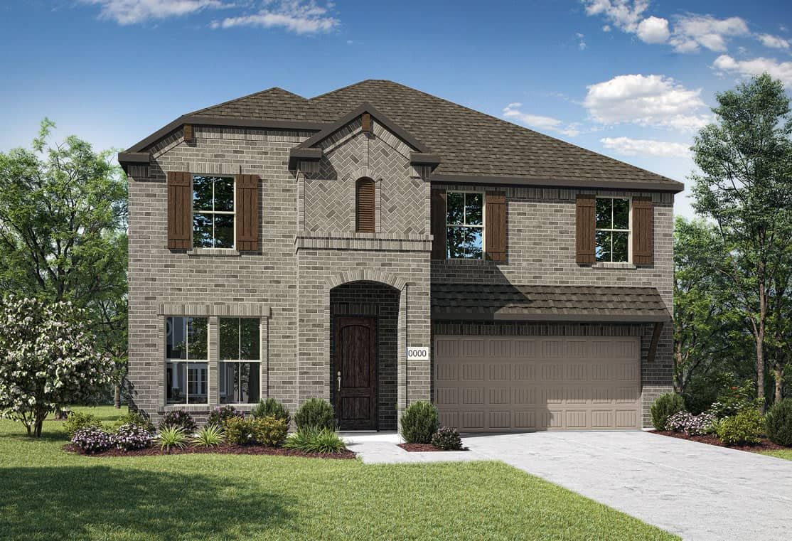 Elevation C:Elevation C is a two story full brick home design with arched entry, and ceder shutters and corbels.