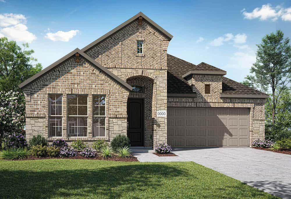 Elevation F:Elevation F is a single story, brick and stone elevation with arched entry and decorative brick corb