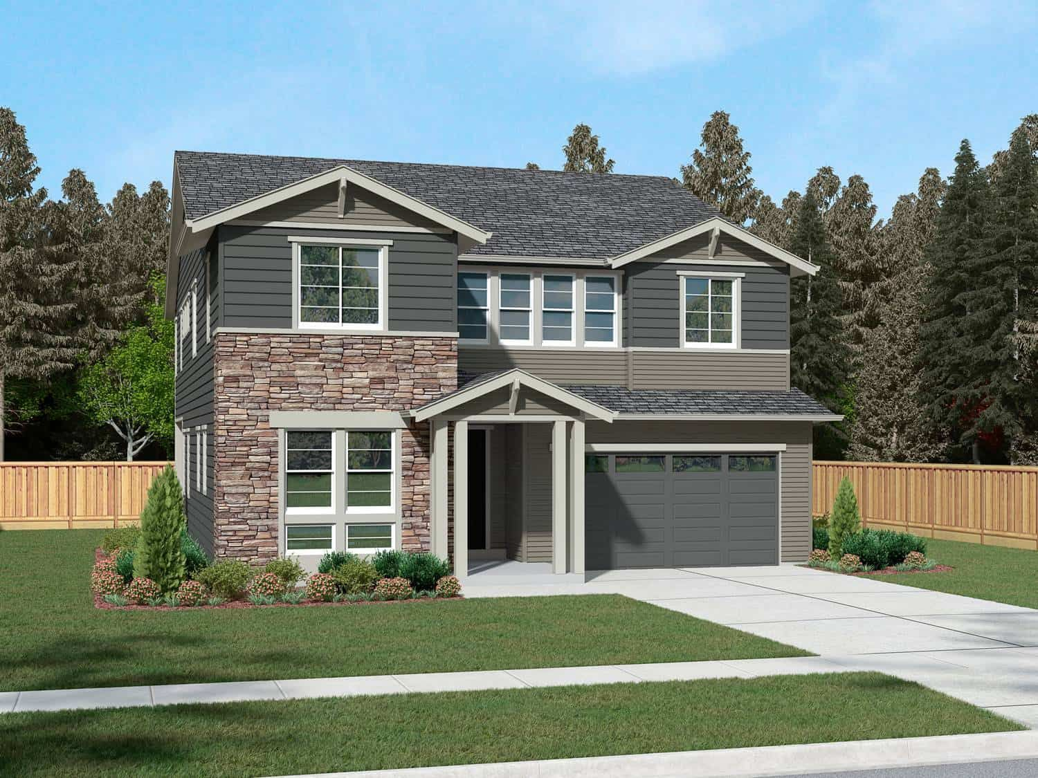 Exterior featured in the Plan H-341DL By Tri Pointe Homes in Seattle-Bellevue, WA