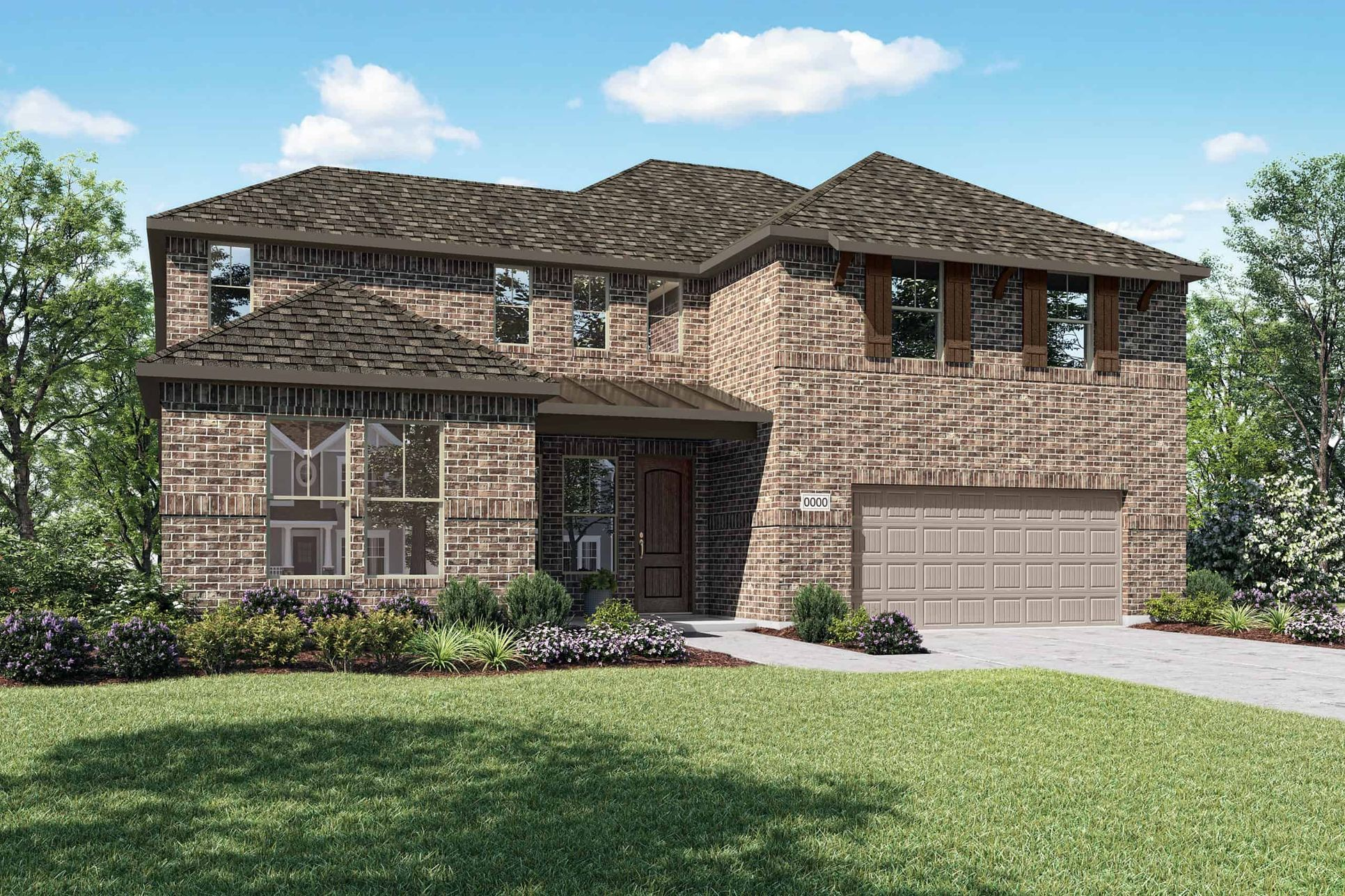 Elevation A:Elevation A is a two story full brick home design with clean lines and shutters on the front windows