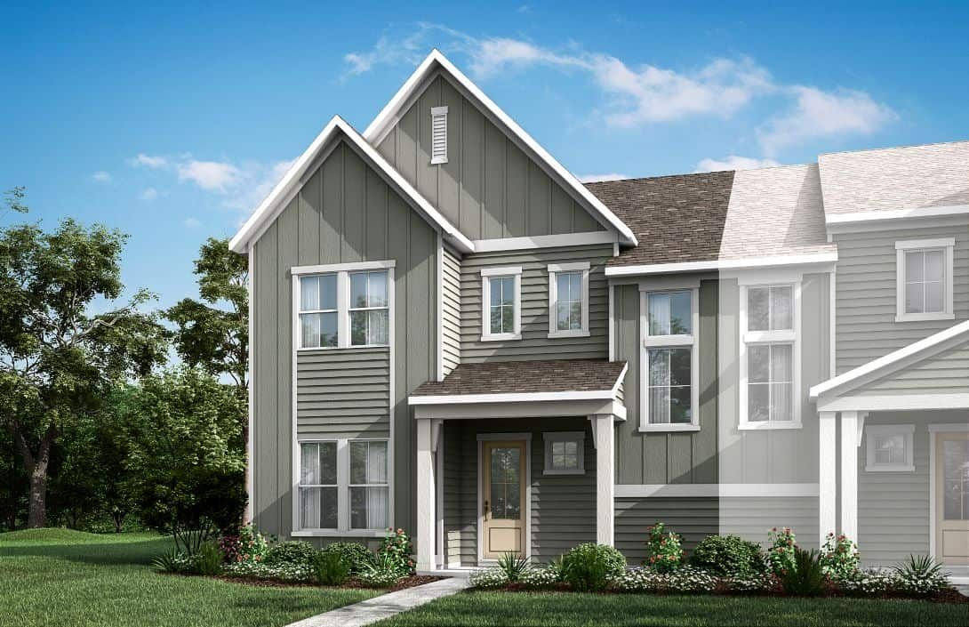 Mayes Hall | Plan 5- Paired Villa- Exterior Render:Mayes Hall | Plan 5- Paired Villa- Exterior Rendering- Elevation A