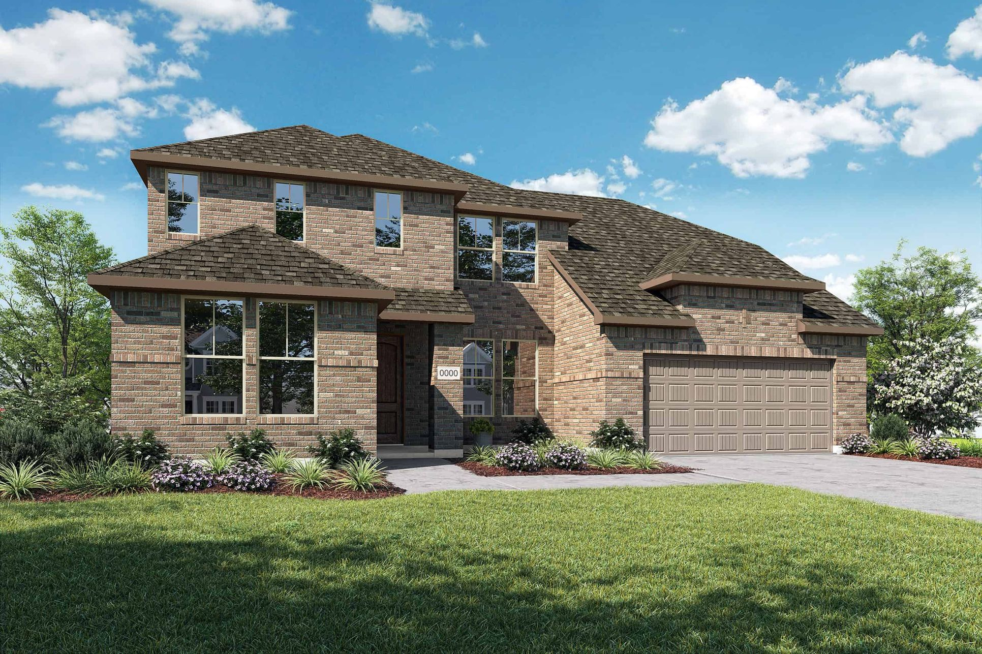 Elevation A:Elevation A is a two story full brick moden inspired home design with ample front windows to provide