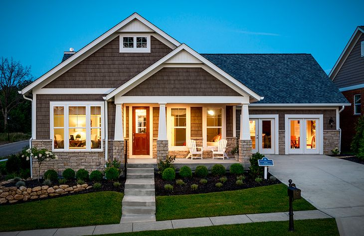 The Summerhill Model:Craftsman style exterior detailing with welcoming front porch (Elevation C)