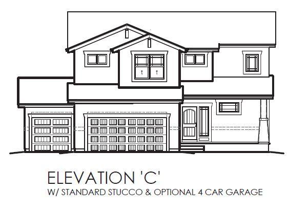 Elevation C:w/ Standard Stucco & Optional 4 Car Garage
