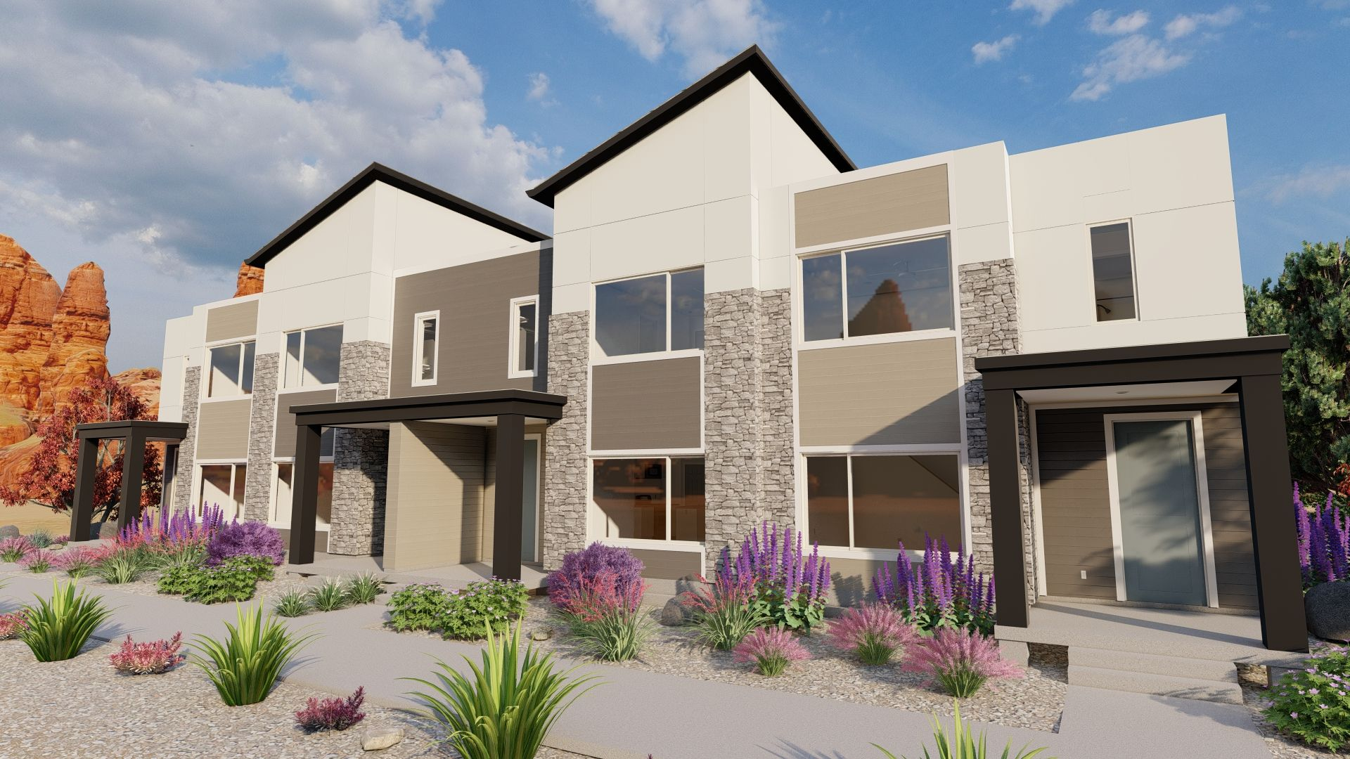 Exterior featured in the Desert Color Townhomes By Visionary Homes in St. George, UT