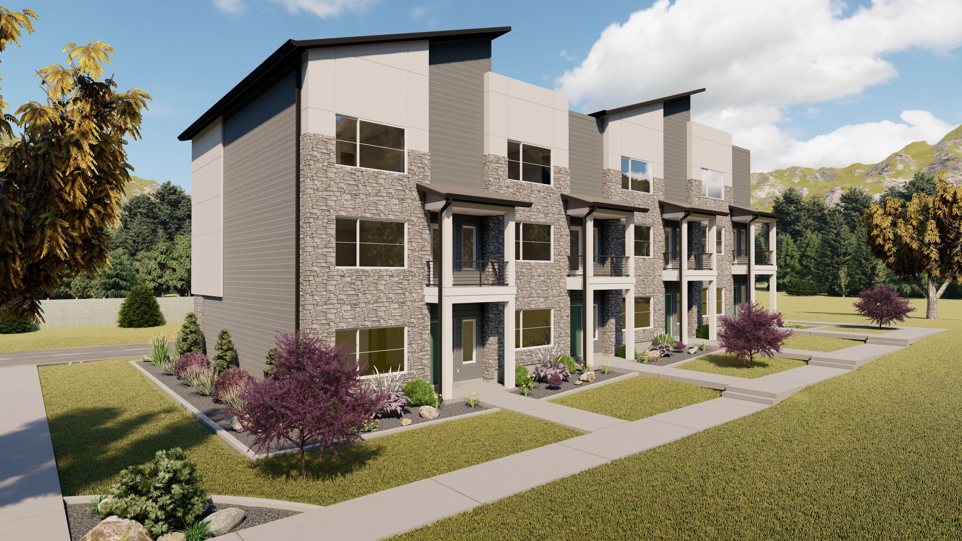 Exterior featured in the Indigo Bend Townhomes By Visionary Homes in Logan, UT