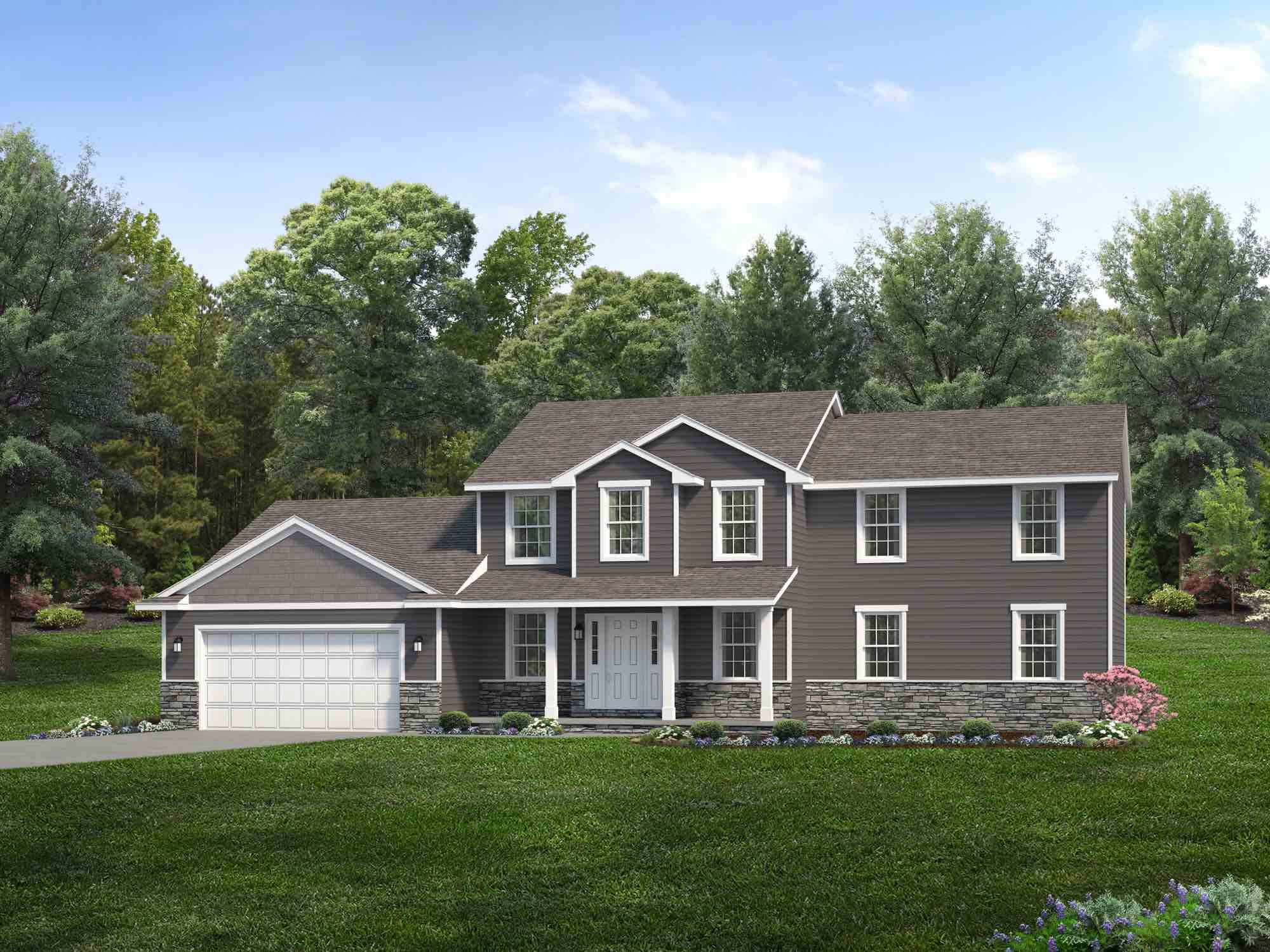 Exterior featured in the Columbia By Wayne Homes in Akron, OH