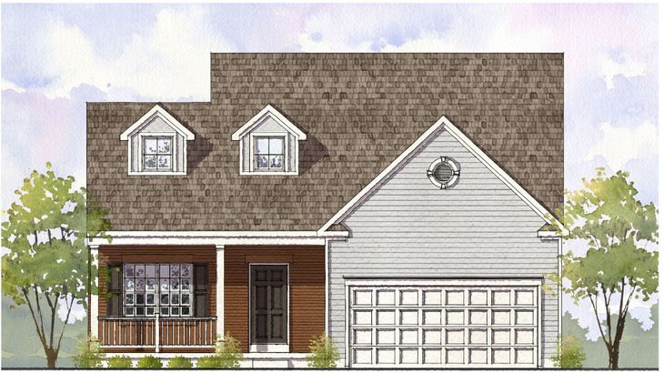 Elevation 'B' with optional brick front and full front porch:Ashford Elevation B