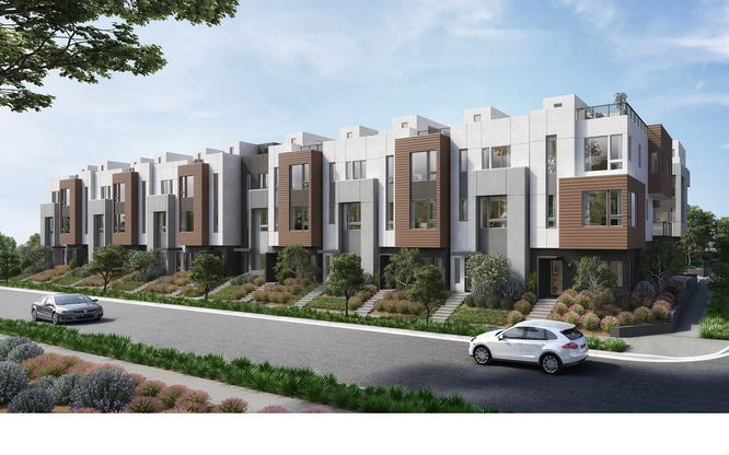 24 On Centre exterior:24 On Centre community rendering of homes along street