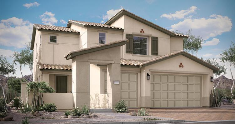 Exterior featured in the Justicia Plan 4 By Woodside Homes in Las Vegas, NV