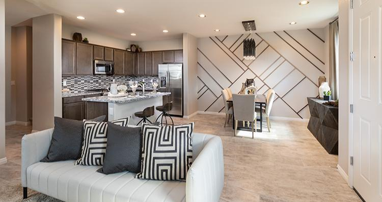 Greatroom-and-Dining-in-Cadenza Plan 3-at-San Carlo Townhomes-in-Henderson
