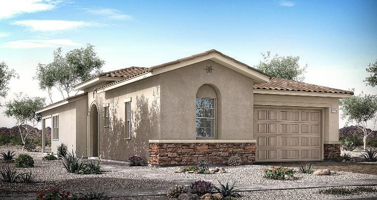 Exterior featured in the Jasper Plan 1 By Woodside Homes in Las Vegas, NV