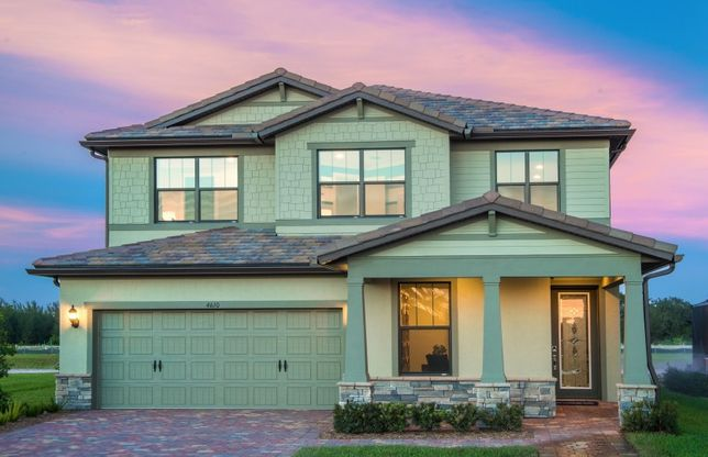 Park Place:The Park Place, a two-story family home with a 2 car garage, shown as The Fields model Home Exterior