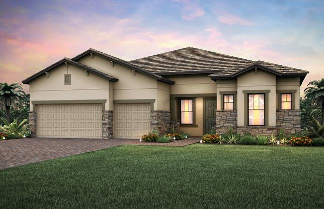 Exterior:The Pinnacle, a one-story family home with a 3 car garage, shown with Home Exterior C2B