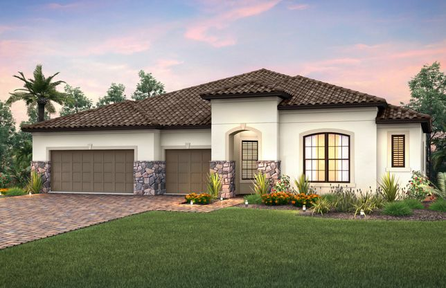 Nobility:The Nobility, a one-story family home with a 3 car garage, shown with Home Exterior FM2B