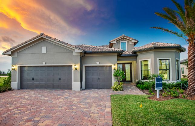 Stonewater:The Stonewater, a one-story family home with a 3 car garage, shown with Home Exterior FM2A