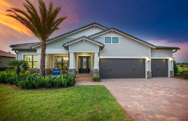 Clubview:The Clubview, a one-story family home with a 3 car garage, shown with Home Exterior C3A