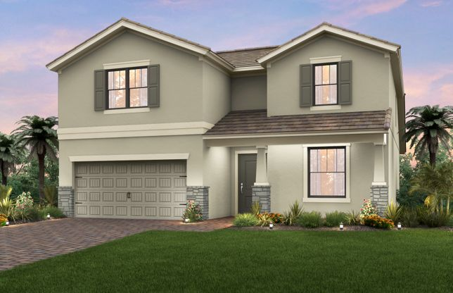 Citrus Grove:The Citrus Grove, a two-story home with a 2 car garage, shown with Home Exterior C2A