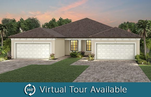 Ellenwood:The Ellenwood, a one-story attached villa with a 2 car garage, shown as home exterior FMA
