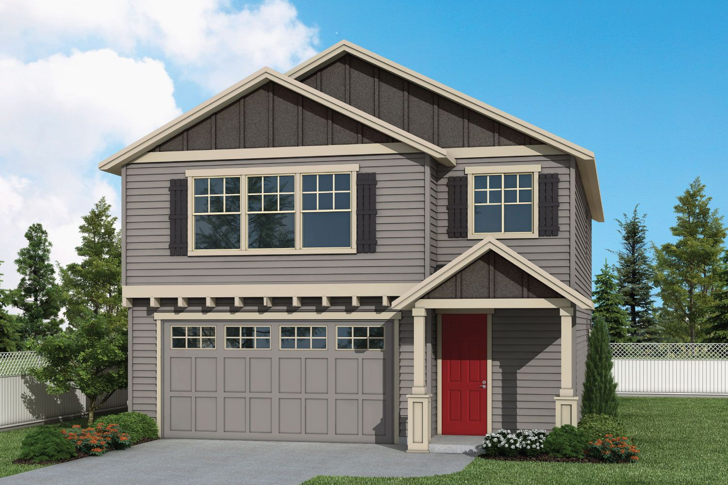 Plan 2196 Elevation 1 Rendering by Aho Construction:Plan 2196 Elevation 1