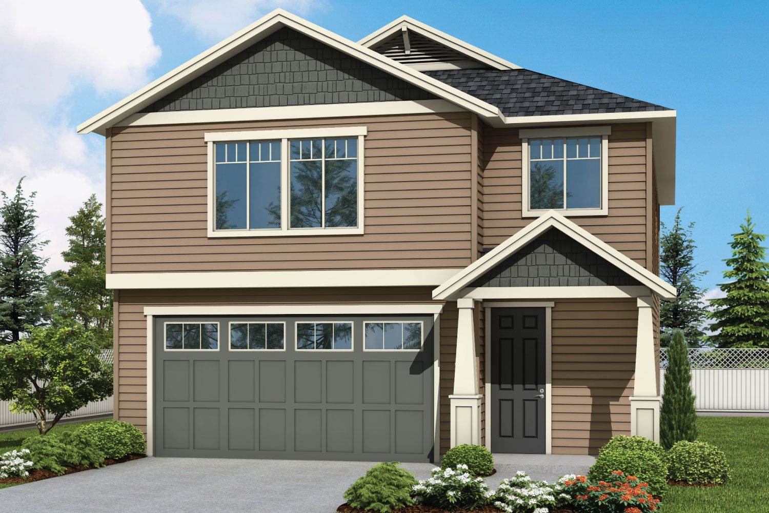 Plan 2196 Elevation 2 Rendering by Aho Construction:Plan 2196 Elevation 2