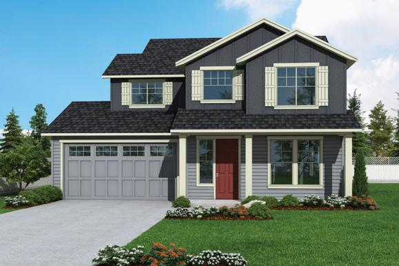 Plan 2364 Elevation 1 Rendering by Aho Construction:Plan 2364 Elevation 1