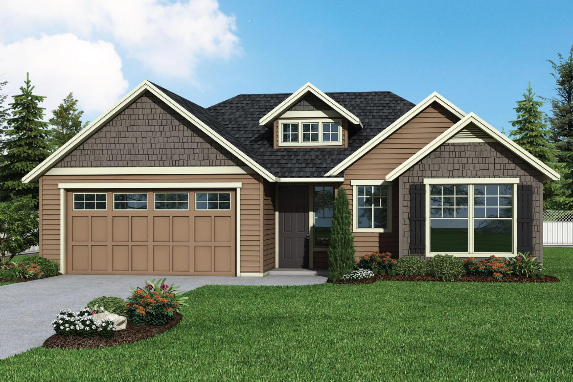 Plan 1852 Elevation 1 Rendering by Aho Construction:Plan 1852 Elevation 1