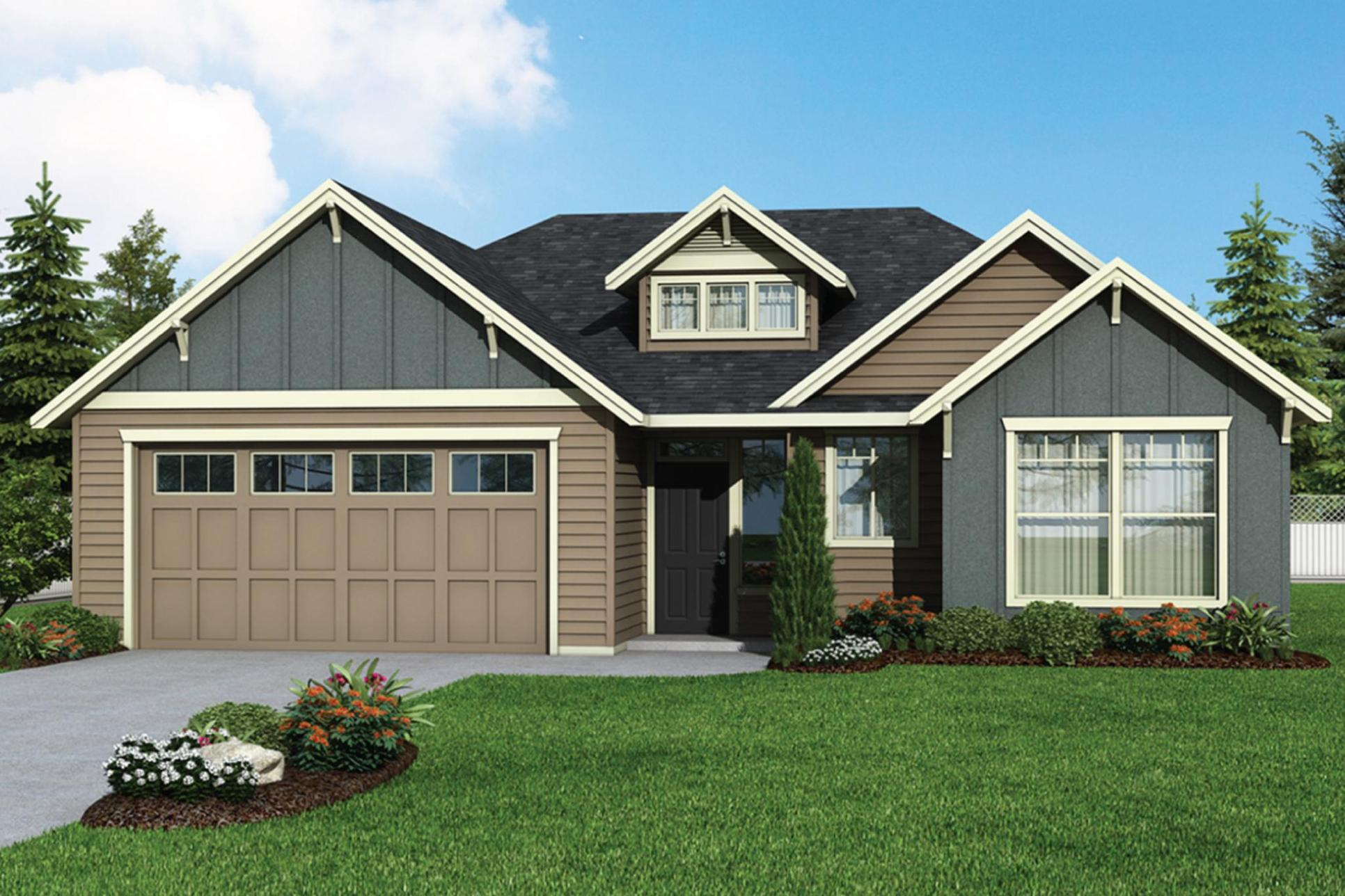 Plan 1852 Elevation 2 Rendering by Aho Construction:Plan 1852 Elevation 2
