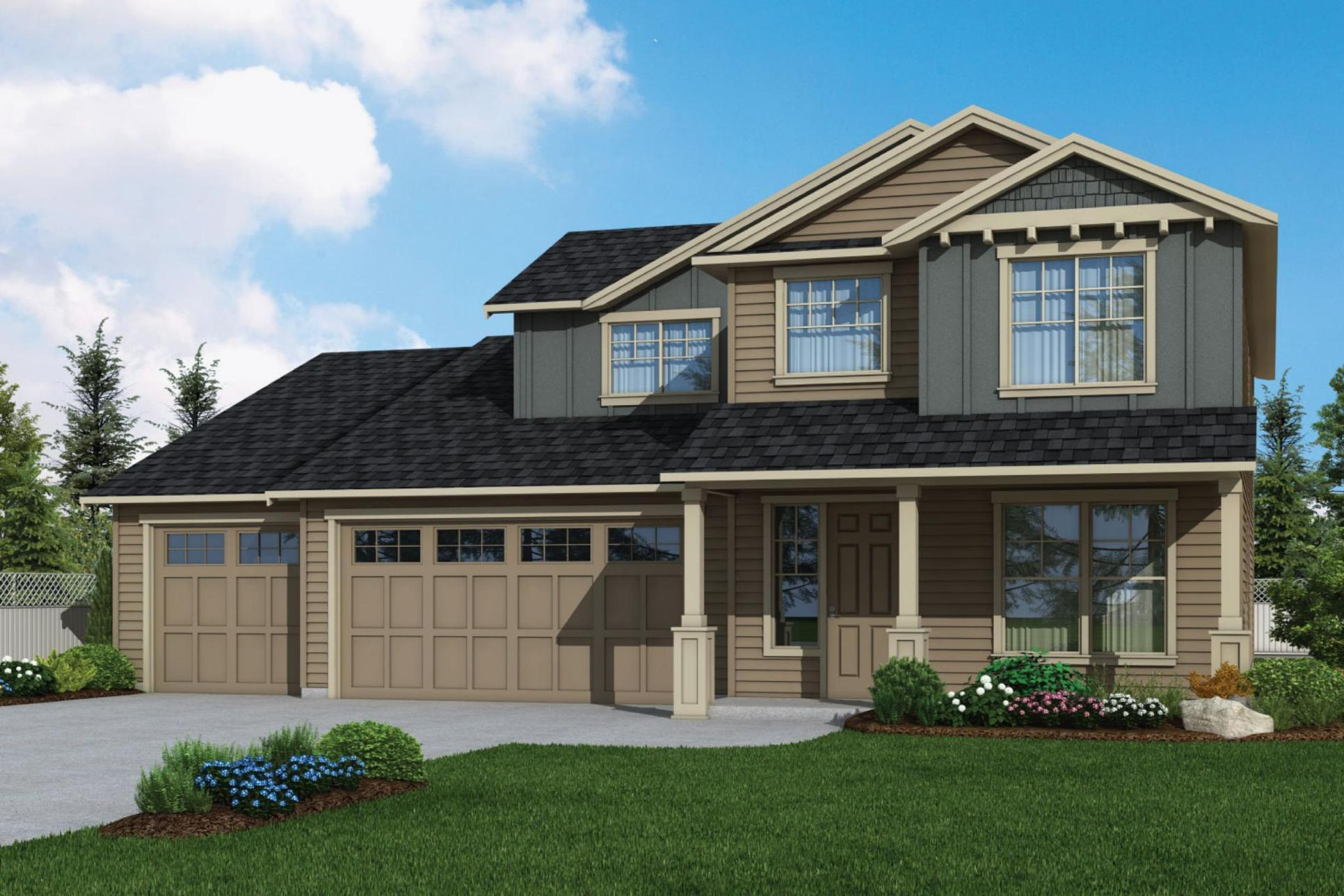 Plan 2952 Elevation 1 Rendering by Aho Construction:Plan 2952 Elevation 1