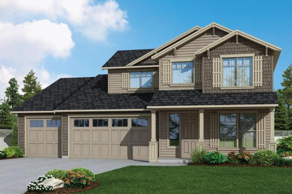 Plan 2952 Elevation 2 Rendering by Aho Construction:Plan 2952 Elevation 2