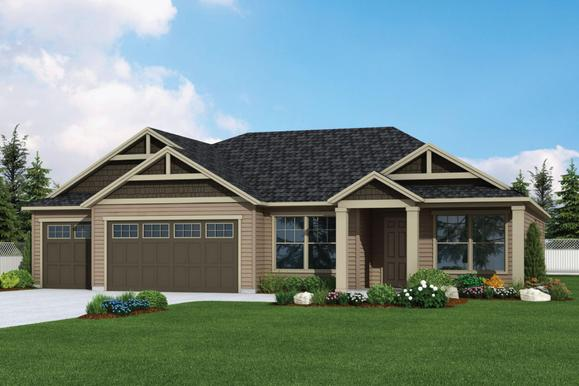 Plan 2305 Elevation 1 Rendering by Aho Construction:Plan 2305 Elevation 1