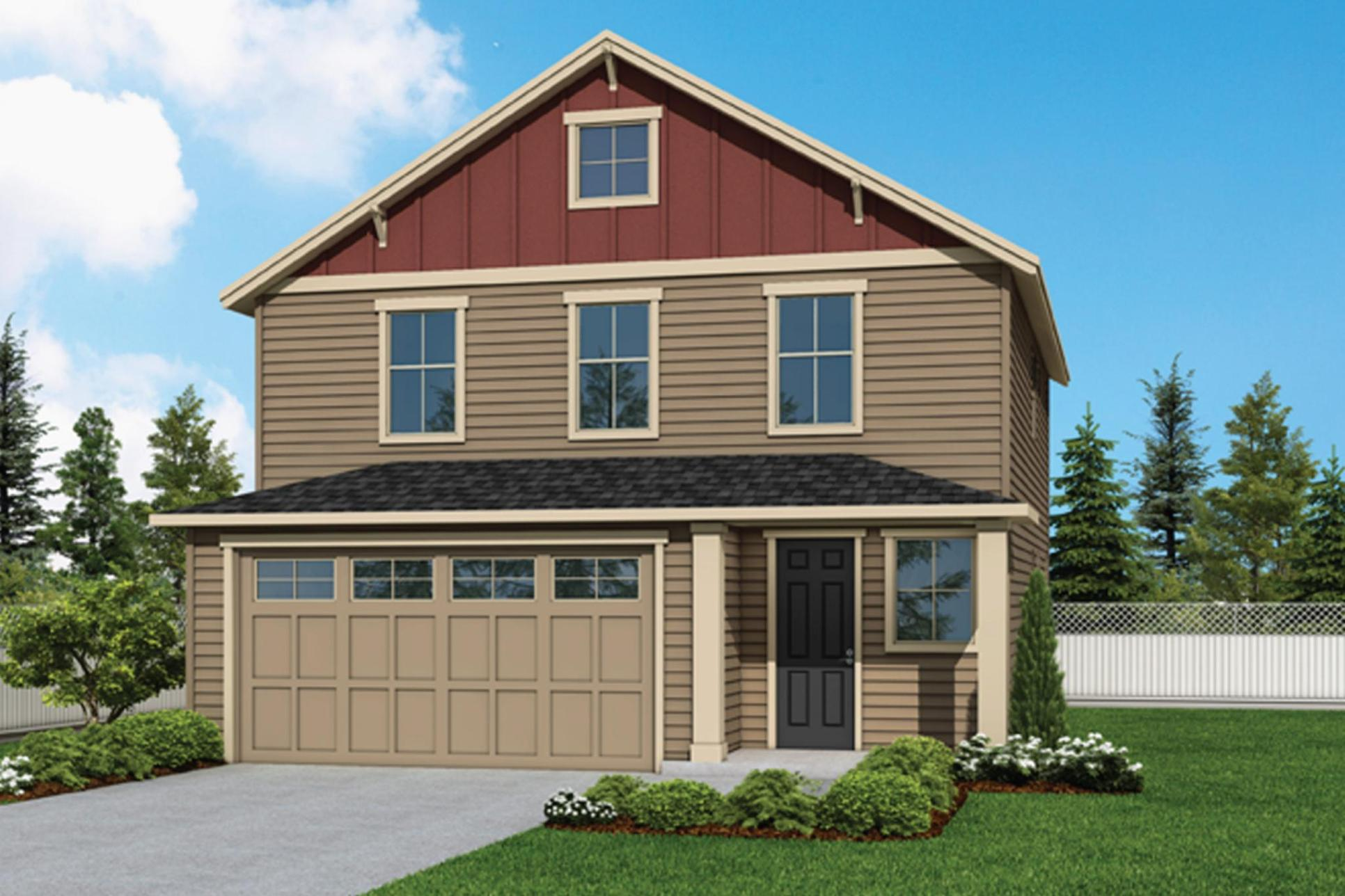 Plan 1867 Elevation 1 Rendering by Aho Construction:Plan 1867 Elevation 1