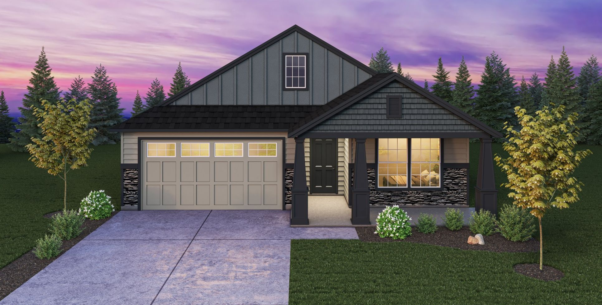 Exterior:Plan 1549 Elevation 6 with Stone