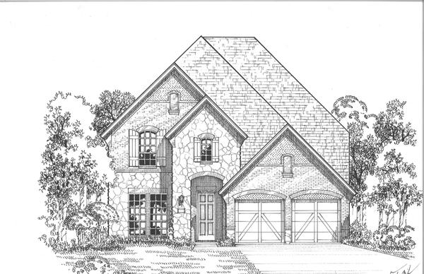 Exterior:Plan 527 Elevation A w/Stone