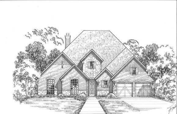 Exterior:2231 Country Brook Elevation D w/ Stone