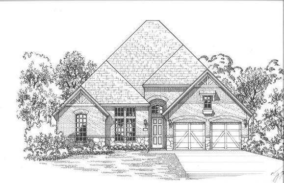 Exterior:Plan 631 Elevation A w/ Stone