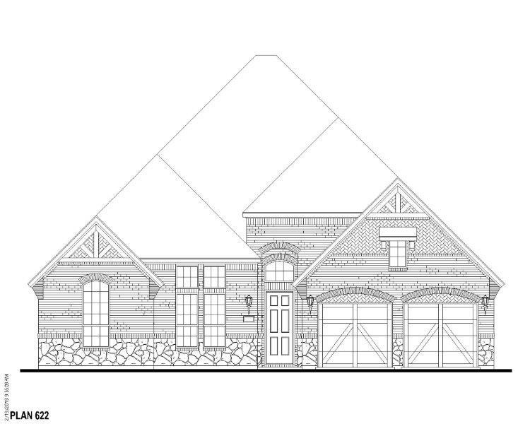 Exterior:Plan 622 Elevation A w/ Stone