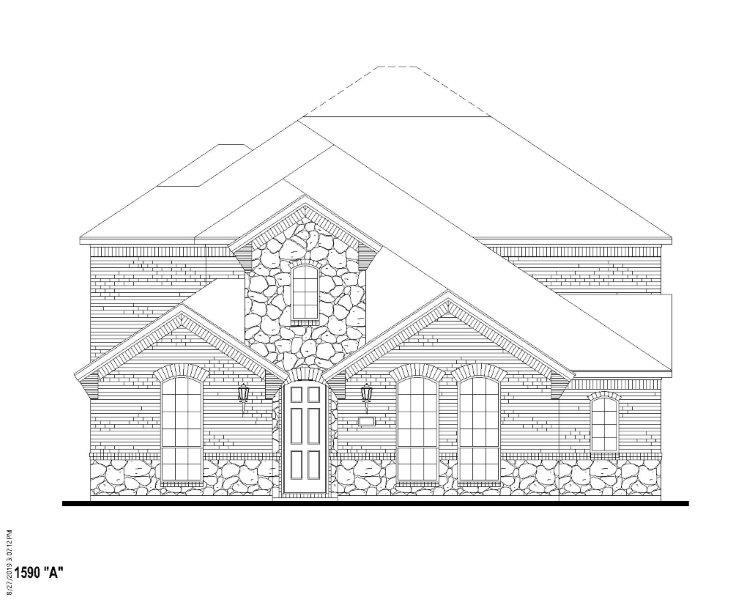 Exterior:12584 Ravine Elevation A w/ Stone